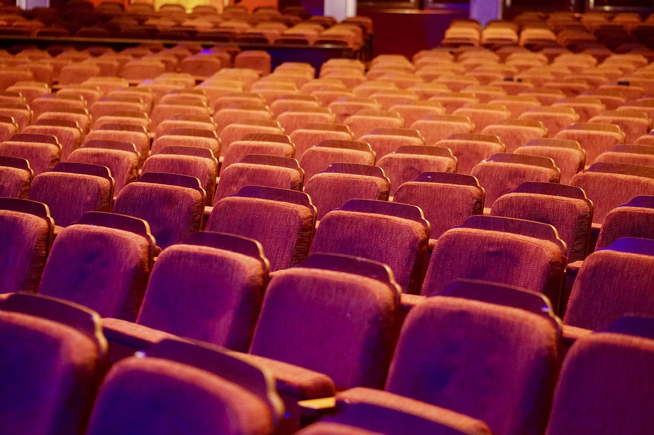 rows of movie theater seats with a pink/orange/purple filter over the image (by northpaw on Pixabay)